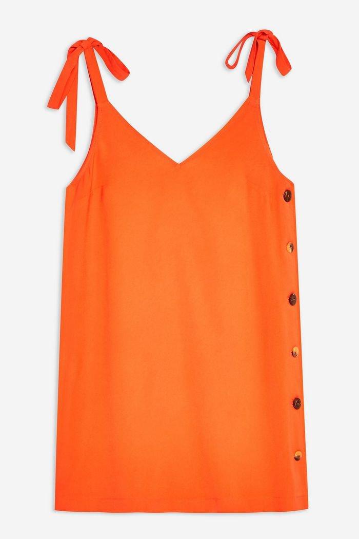 Button Mini Slip Dress | Topshop orange