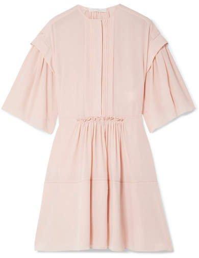 Gathered Pleated Silk-crepe Mini Dress - Blush