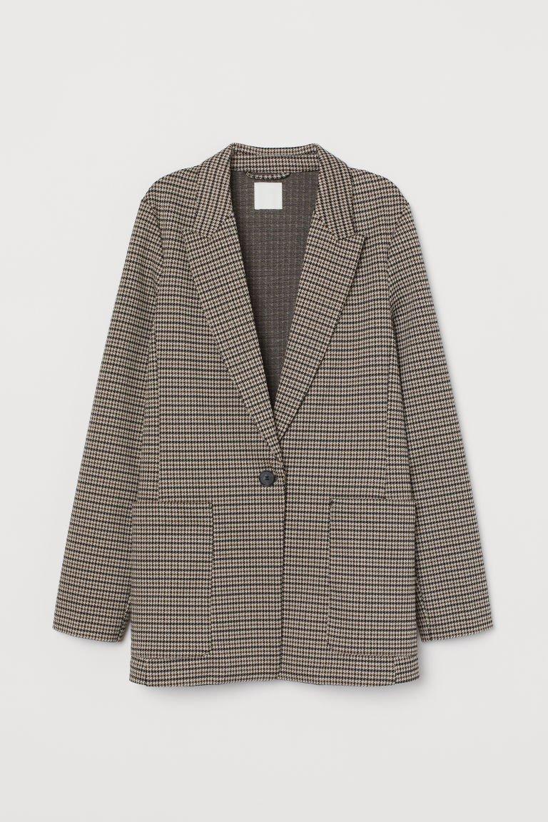 Jersey Jacket - Beige/houndstooth-patterned - Ladies   H&M CA