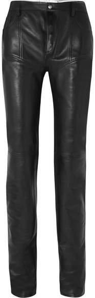 Reversible Leather Skinny Pants - Black