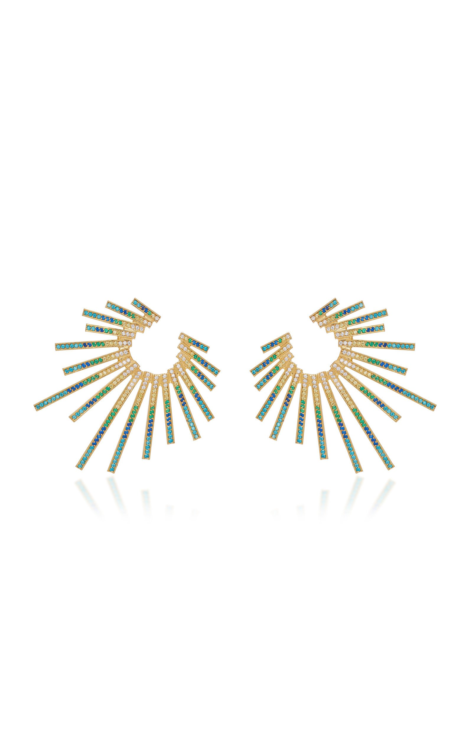 Criss-Cross Gold-Plated Brass and Cubic Zirconia Statement Earrings by Joanna Laura Constantine | Moda Operandi