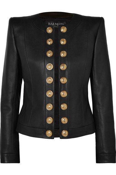 Balmain | Button-embellished collarless leather blazer | NET-A-PORTER.COM