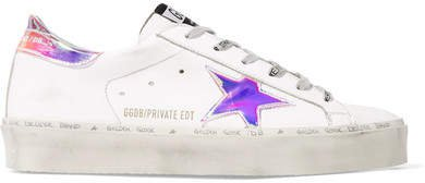Hi Star Distressed Leather Sneakers - White