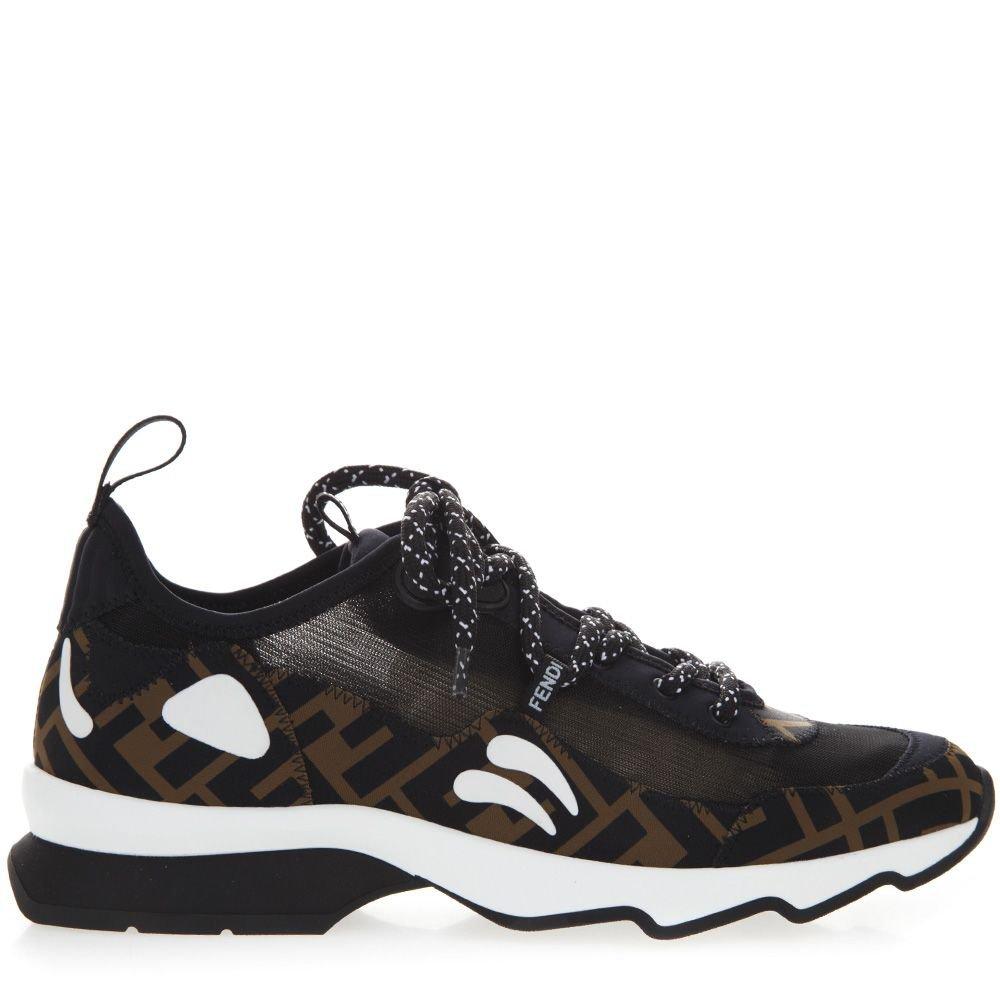 Fendi Black & Brown Technical Fabric Monogram Sneaker