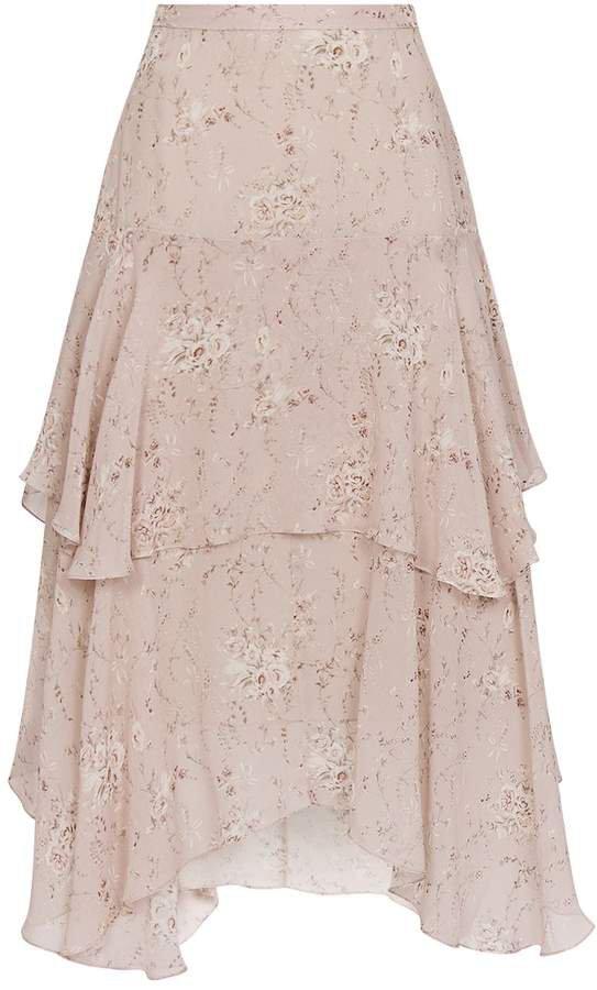 Love Shack Fancy Alex Floral Midi Skirt