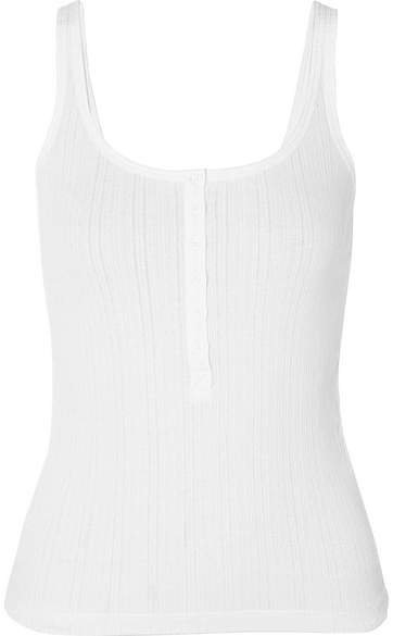 Ribbed Stretch-cotton Jersey Tank - White
