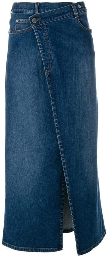 denim wrap midi skirt