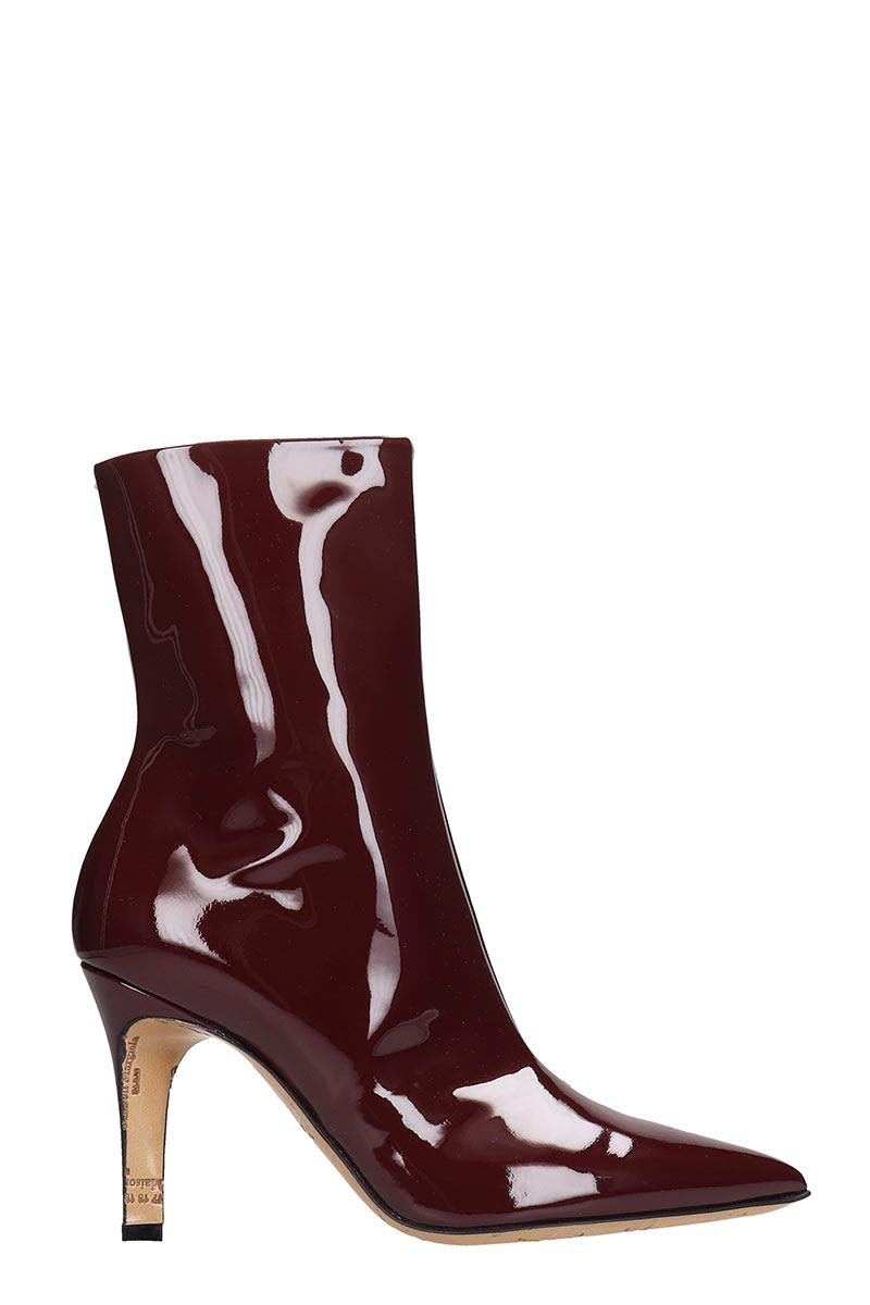 Maison Margiela Ankle Boots In Bordeaux Patent Leather