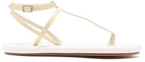 Padded Sole Leather Sandals - Womens - White
