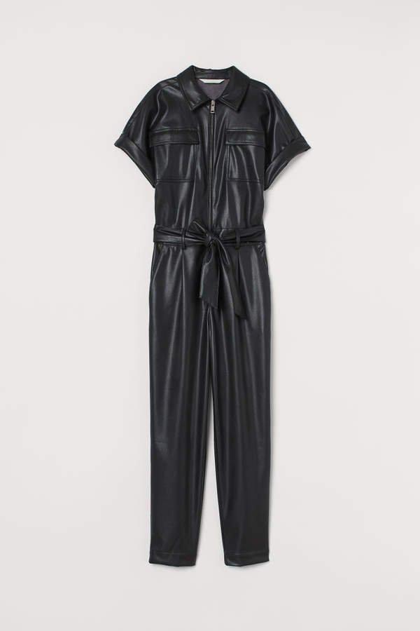 Faux Leather Jumpsuit - Black