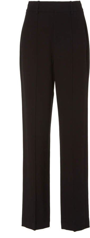 Pintucked Crepe Straight-Leg Pants