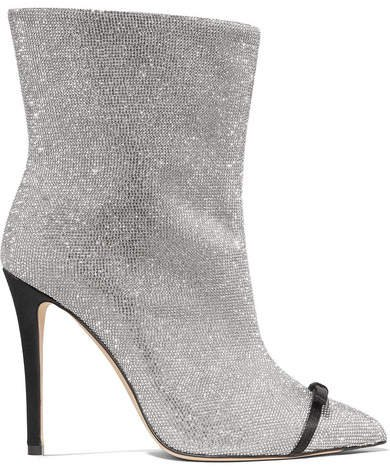Pvc-trimmed Crystal-embellished Leather Ankle Boots - Silver