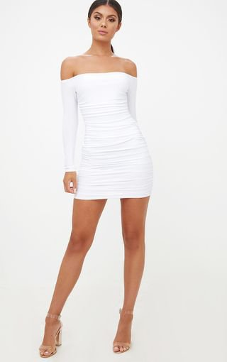 White Bardot Ruched Bodycon Dress. Dresses | PrettyLittleThing