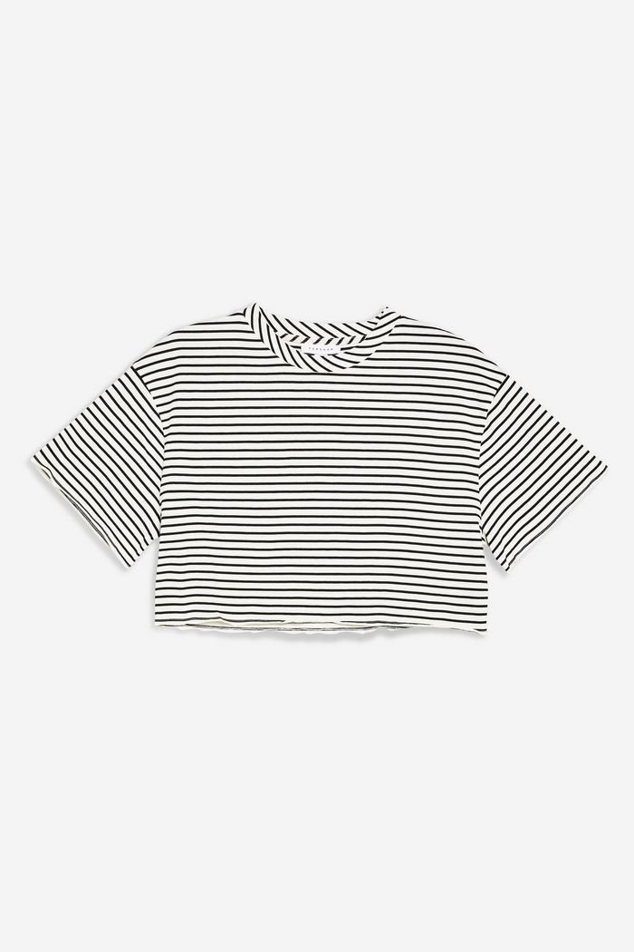 Stripe Raw Hem Crop T-Shirt   Topshop