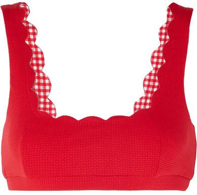 Palm Springs Scalloped Stretch-crepe Bikini Top - Red