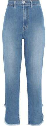 Stovepipe Frayed High-rise Straight-leg Jeans