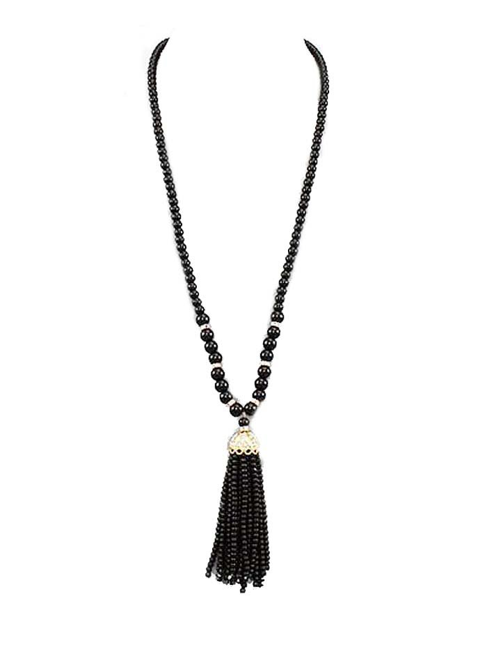tassel black necklace and earrings - Google Search