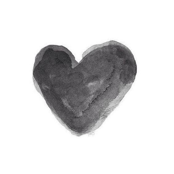 Black Watercolor Heart