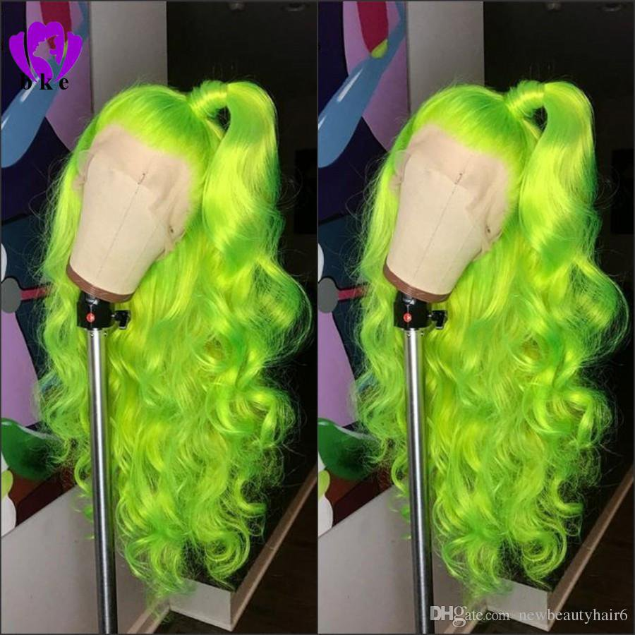 Natural Long Body Wave Free Part Apple Green Wig High Density Glueless Synthetic Lace Front Wigs For Women Party Makeup Cosplay Katy Perry Blue Wig Malaysian Full Lace Wigs From Newbeautyhair6, $56.09| DHgate.Com