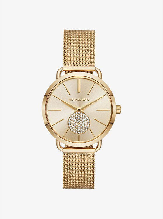Portia Mesh Gold-tone Watch | Michael Kors