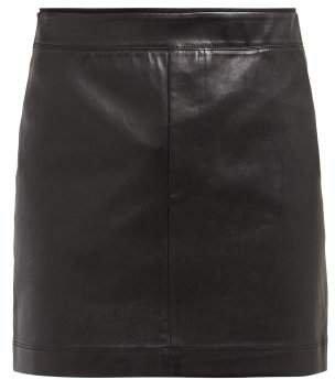 Leather Mini Skirt - Womens - Black