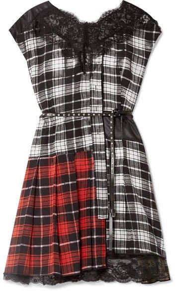 Lace-trimmed Plaid Silk-chiffon And Shell Mini Dress - Black