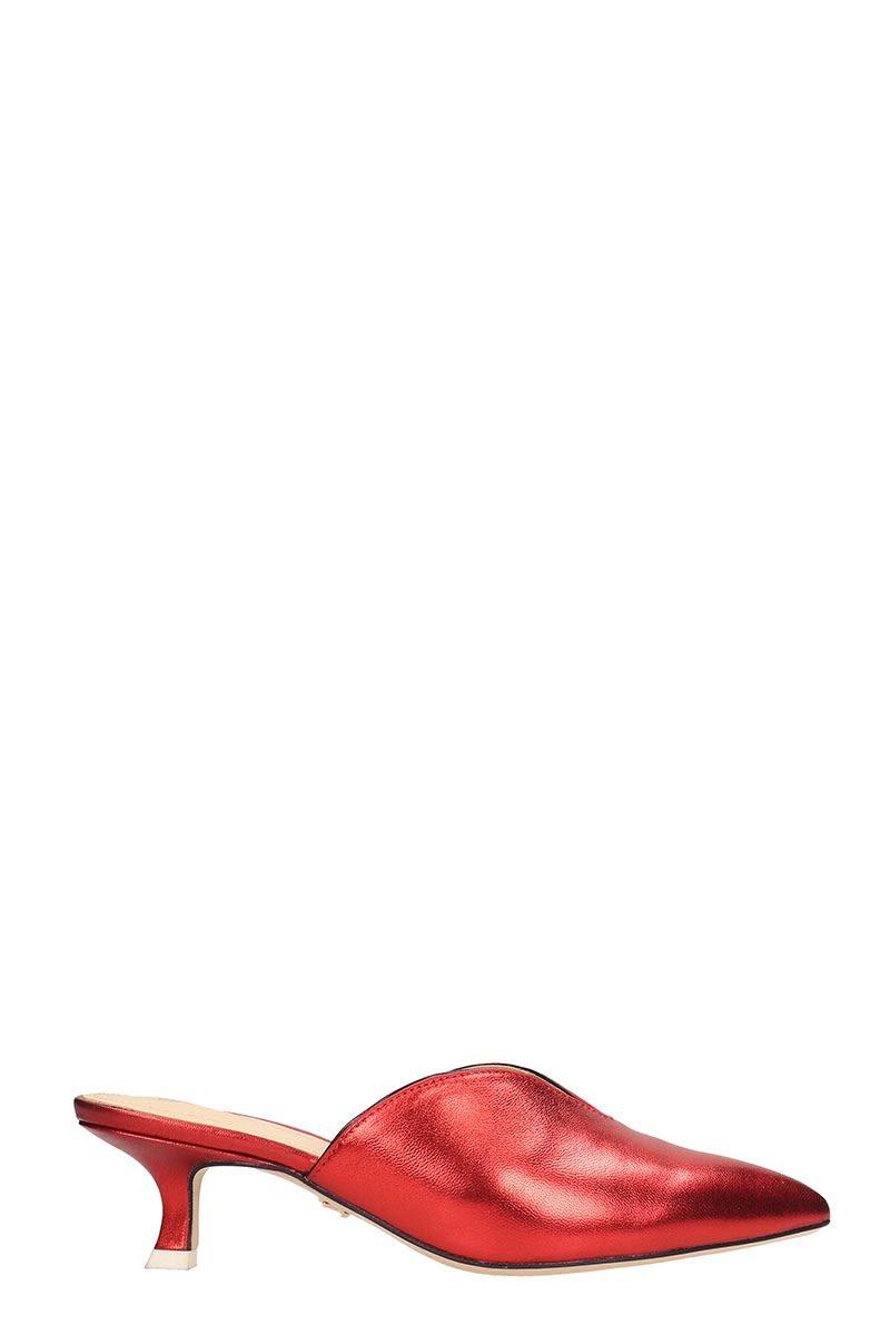 Lola Cruz Laminated Red Leather Mule Sandals