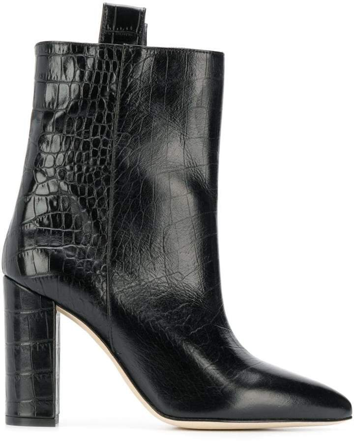 crocodile effect ankle boots