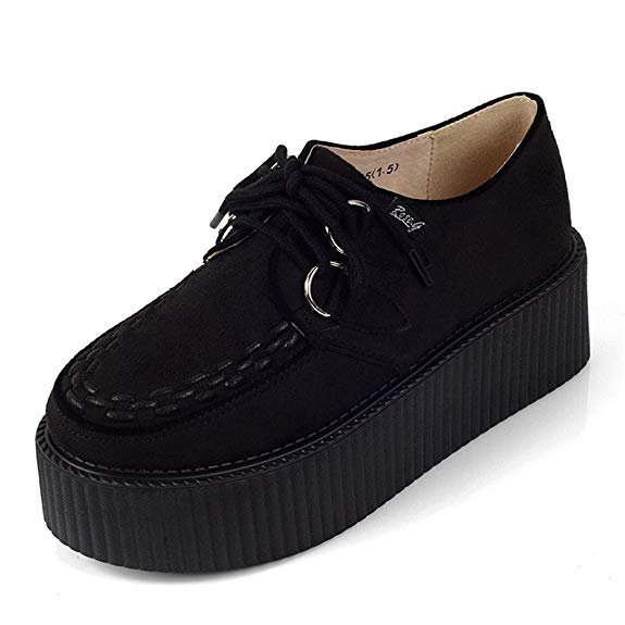Amazon.com | RoseG Women's Handmade Suede Lace up Flat Platform Creepers Shoe Black Size10 | Flats