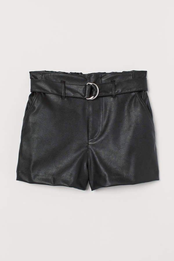 Faux Leather Shorts - Black