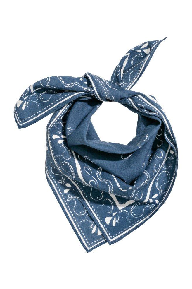 Patterned scarf - Dark blue - | H&M GB