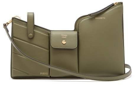 Pocket Mini Leather Cross Body Bag - Womens - Green