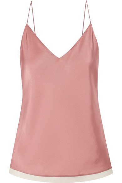 Theory | Cotton gauze-trimmed satin-twill camisole | NET-A-PORTER.COM