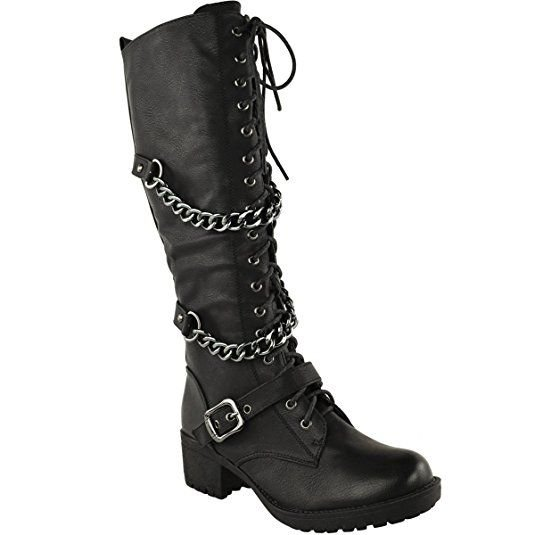 Thirsty Womens Knee High Mid Calf Lace Up Biker Punk Military Combat Boots