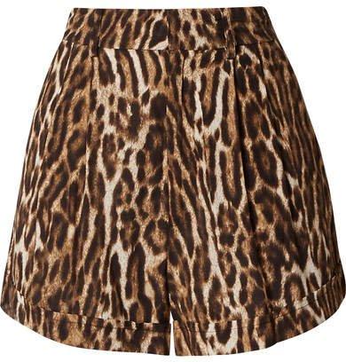 Leopard-print Voile Shorts - Brown