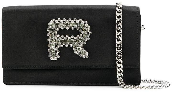 embellished logo clutch bag