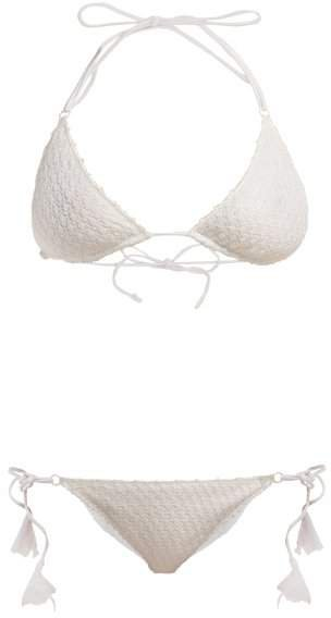 Mare - Bridal Diamond Crochet Knit Bikini - Womens - White
