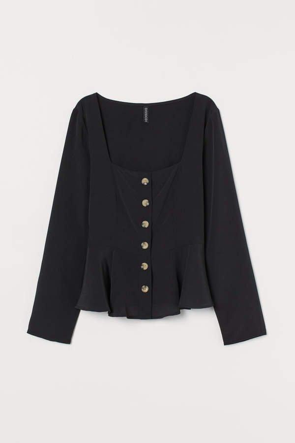 Button-front Blouse - Black