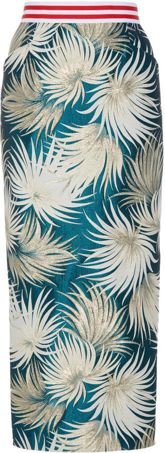 High-Waisted Cotton-Blend Pencil Skirt