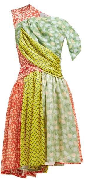 Monica Multi Print Asymmetric Silk Blend Dress - Womens - Multi
