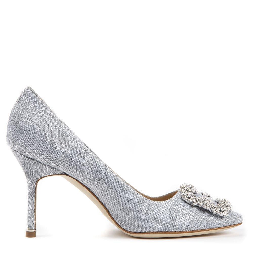 Manolo Blahnik Silver Hangisi Glitter Textile Pumps
