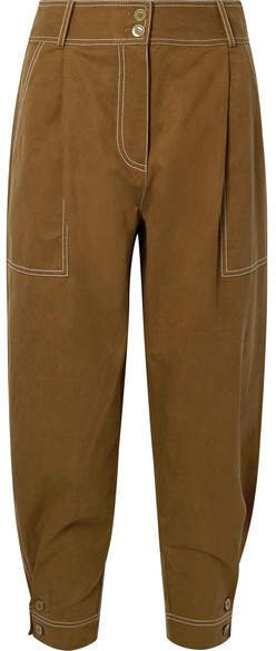 Fleet Tencel And Cotton-blend Pants - Army green