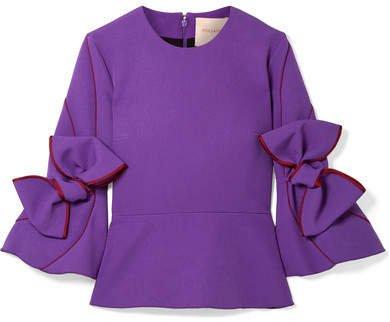 Ricciarini Bow-embellished Satin-trimmed Crepe Blouse - Purple