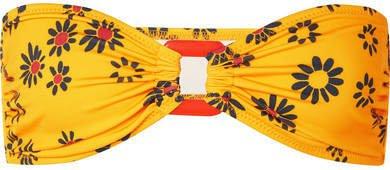 The Tati Floral-print Bandeau Bikini Top - Yellow