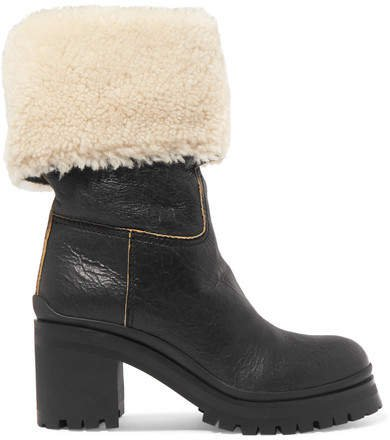 Shearling-trimmed Leather Boots - Black