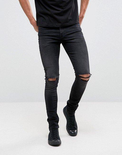 ASOS DESIGN   ASOS DESIGN super skinny 12.5oz jeans with knee rips in washed black