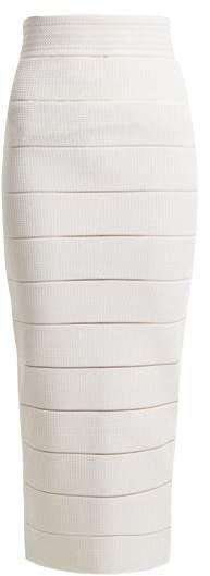 Striped Stretch Knit Midi Skirt - Womens - White Silver