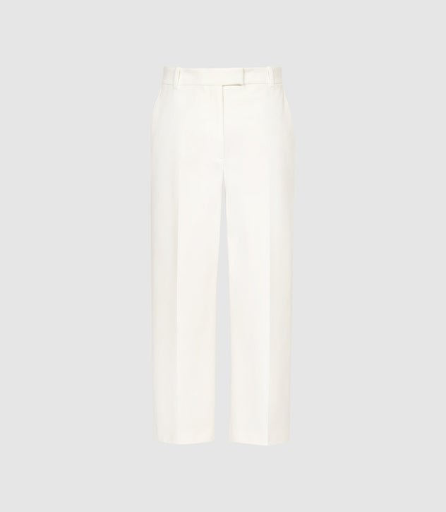Faith White Cotton Blend Cropped Tailored Trousers – REISS