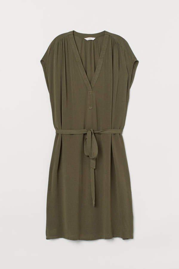 V-neck Dress with Tie Belt - Green