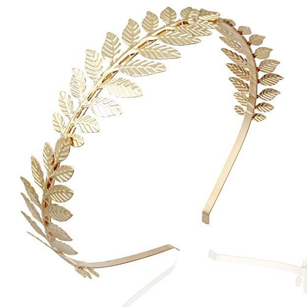 Amazon.com: RechicGu Gold 3-Branch Roman Goddess Leaf Branch Dainty Bridal Hair Crown Head Dress Boho Alice Band with Gift Box: Clothing